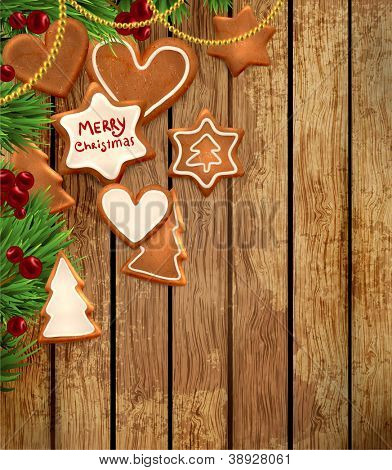 Gingerbread cookies with Christmas tree branches and Holly berries. Wood background. Old texture for retro design. Illustration for Xmas and New Year design.