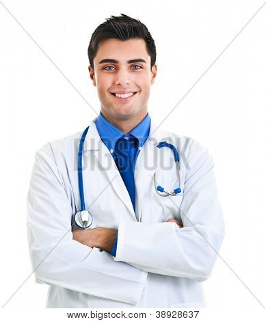 Handsome young doctor isolated on white