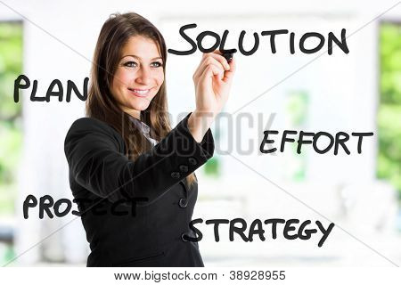 Empresária escrevendo um conceito positivo na tela