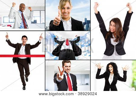 Composition of happy business people