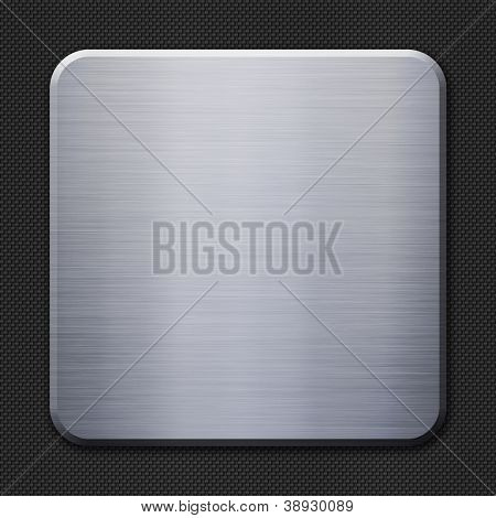 Brushed metal plate on carbon fiber background or texture