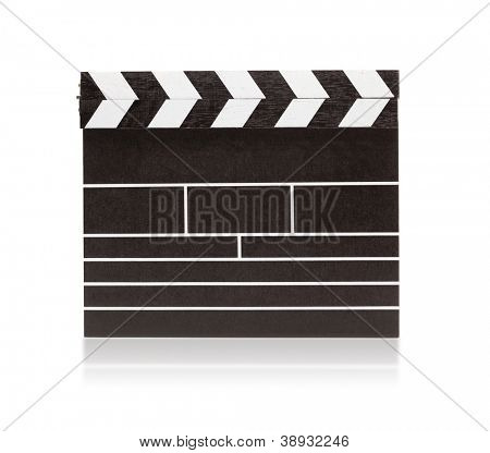 Blank clapboard isolated on white with slight reflection.