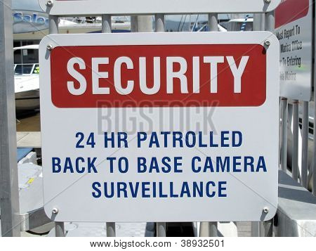 Security Sign at Marina 1