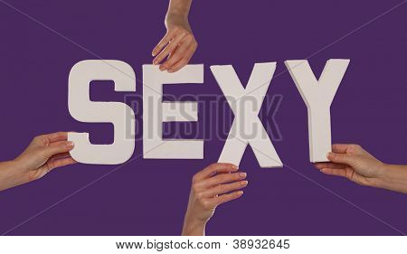 White alphabet lettering spelling SEXY held up over a purple studio background by outstreched female hands