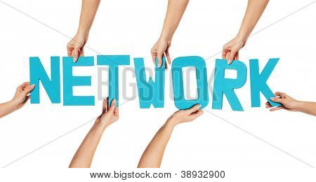 Turquoise blue alphabet lettering spelling NETWORK held up over an isolated white background by female hands