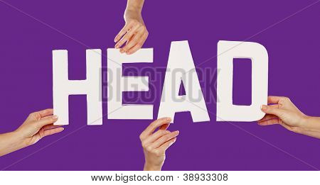 Female hands holding the text word for HEAD in white capital letters isolated on a purple studio background