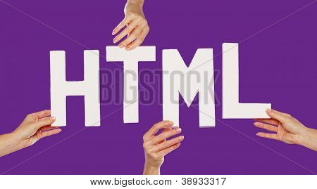 Female hands holding the text word for HTML in white capital letters isolated on a purple studio background