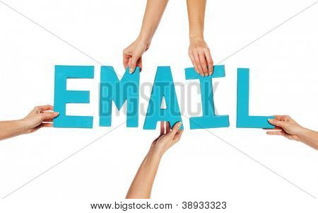 Female hands holding text word for EMAIL in turquoise blue capital letters isolated on a white studio background