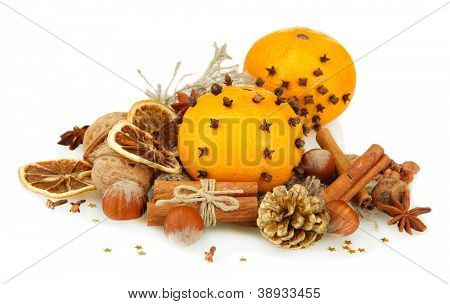 composition of christmas spices, isolated on white