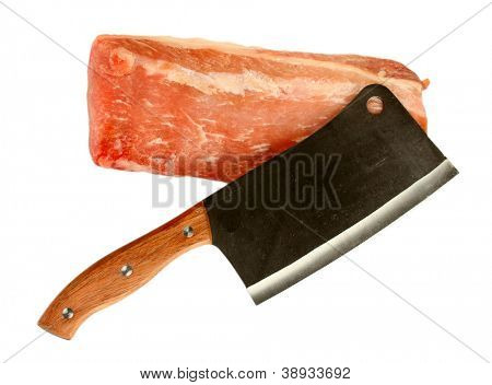 raw pork with a meat hatchet isolated on white