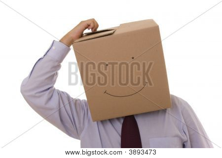 Cardboad Businessman Face