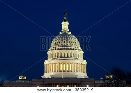 US Capitol dome at night