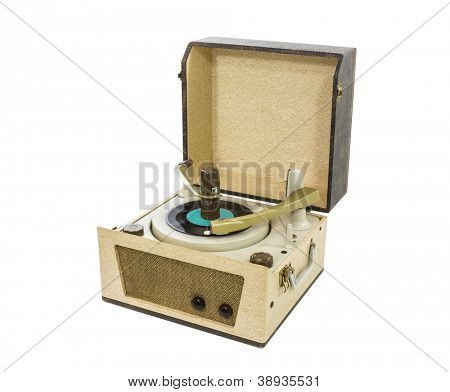 Old record player from the 1960's with clipping path.