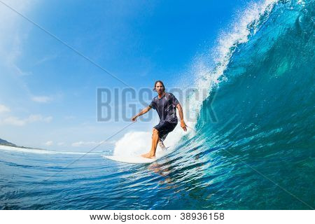 Surfer Riding Large Blue Ocean Wave