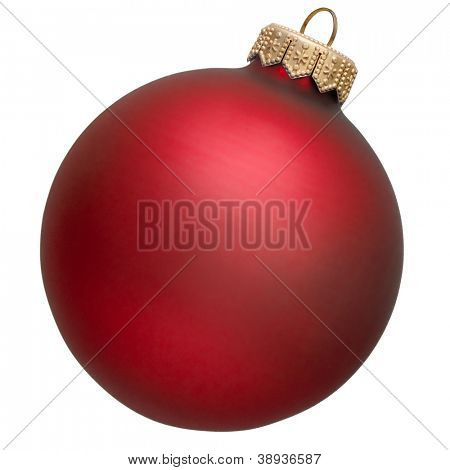 red christmas ornament . Isolated over white.