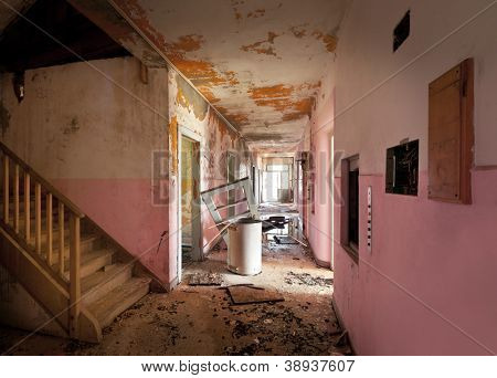 long corridor of old destroyed house, interior