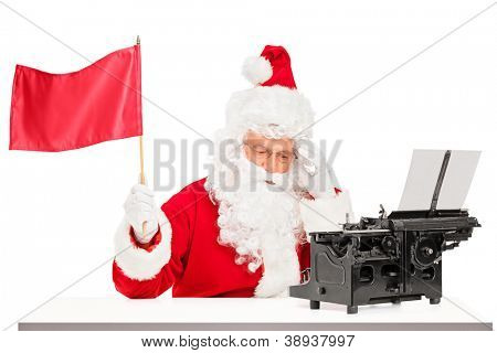 Thoughtful Santa Claus with typing machine waving a red flag gesturing defeat