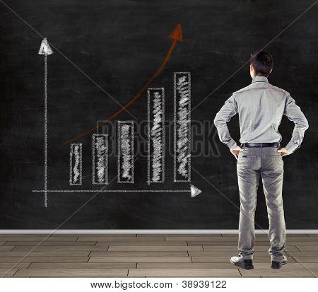 joven empresario frente a una pizarra que presenta un gráfico de tendencia del negocio