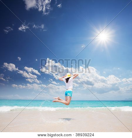 girl standing on beach