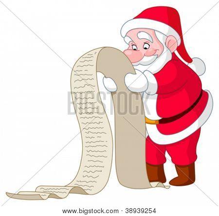 Santa reading a long Christmas wish list