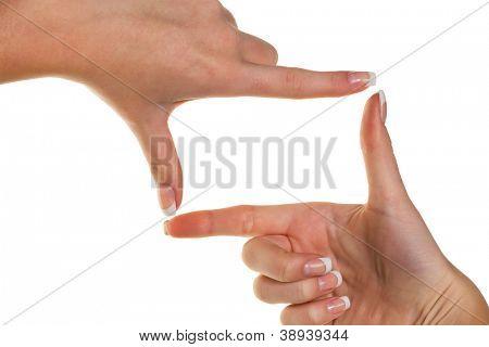 die Hände machen einen Rahmen mit den Fingern. symbolische Foto für Bigotterie und Perspektive