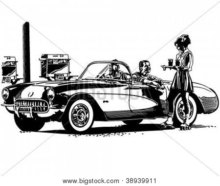 Drive In Burgers - Retro Clipart Illustration