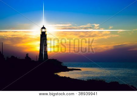 Lighthouse on sunset. Crimea, Ukraine
