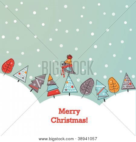 Christmas background with doodled trees and bird in scarf