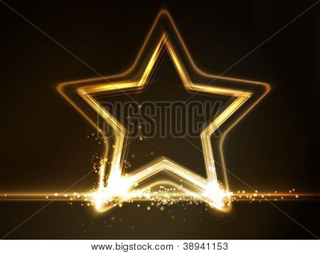 Overlying semitransparent stars with light effects form a golden glowing star frame on dark brown background. Space for your message.
