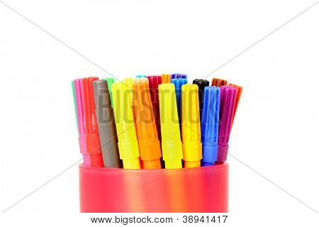 Colorful pen in a holder isolated on white background from bottom