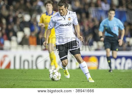 VALENCIA - NOVEMBER 7: Valdez during UEFA Champions League match between Valencia CF and FC Bate Borisov, on November 7, 2012, in Mestalla Stadium, Valencia, Spain