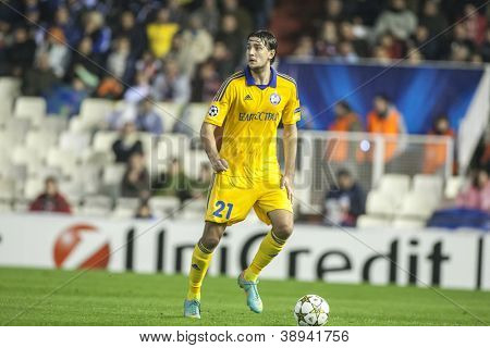 VALENCIA - NOVEMBER 7: Filipenko during UEFA Champions League match between Valencia CF and FC Bate Borisov, on November 7, 2012, in Mestalla Stadium, Valencia, Spain
