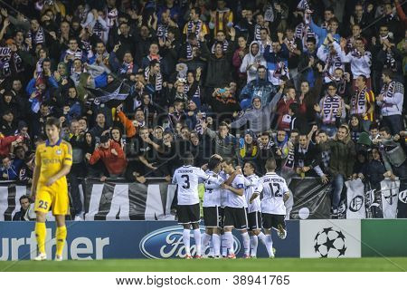 VALENCIA - NOVEMBER 7: Valencia players celebrating a goal during UEFA Champions League match between Valencia CF and FC Bate Borisov, on November 7, 2012, in Mestalla Stadium, Valencia, Spain