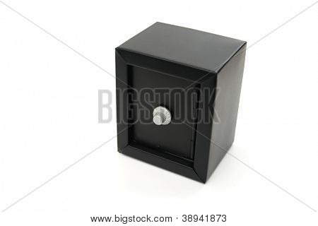A black safe isolated on white background.