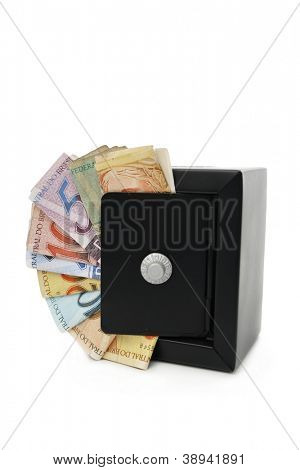 Reais (Real), Brazilian money background and safe.