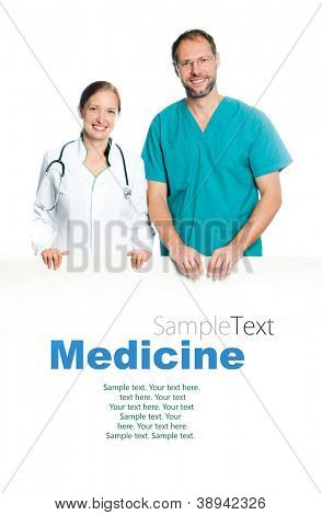 friendly doctors holding a white blank board with sample text