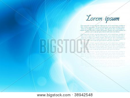 Abstract blue wavy background. Vector design eps 10. Gradient mesh included