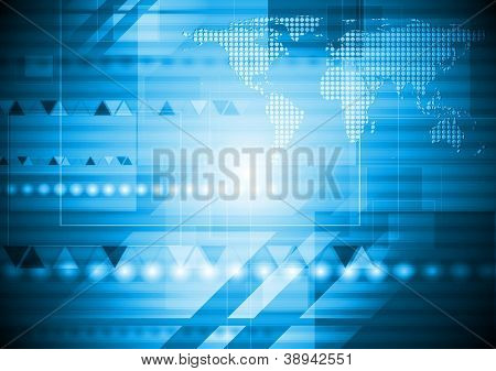 Bright blue technology background with world map. Eps 10 vector design