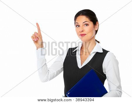 Portrait of Business woman showing a copyspace isolated on white background