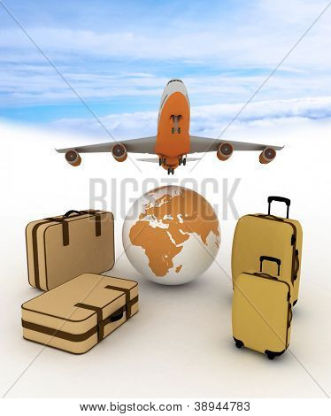 airliner and suitcases on sky background