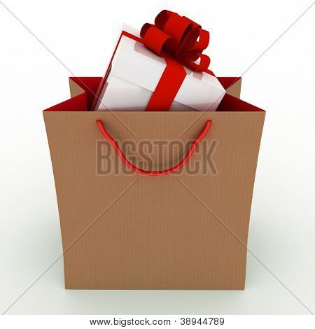 Gift box with red bow in bag for gift on white background