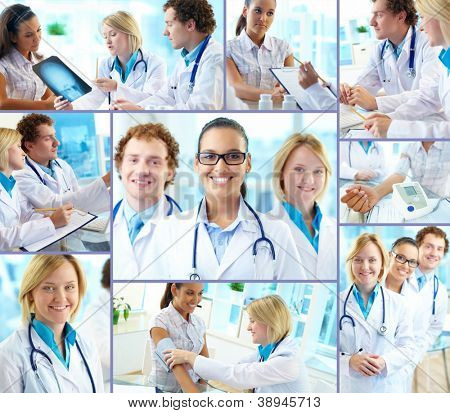 Collage of confident practitioners at work in hospital