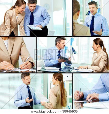 Collage von Geschäftspartnern, die Arbeit in Büro