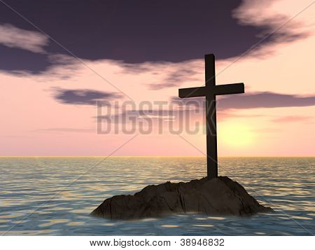 Concept or conceptual dark christian cross standing on a rock in the sea or ocean over a beautiful sky at sunset as a metaphor for faith,religion,religious,belief,jesus,christ,spiritual or church
