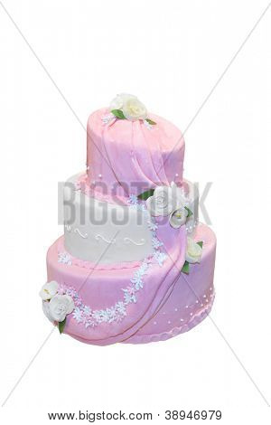 Elegant wedding cake isolated on white