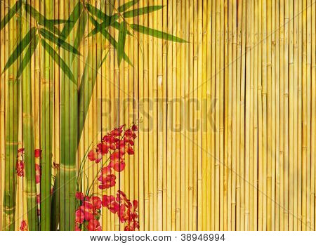 plum blossom and bamboo on old antique texture