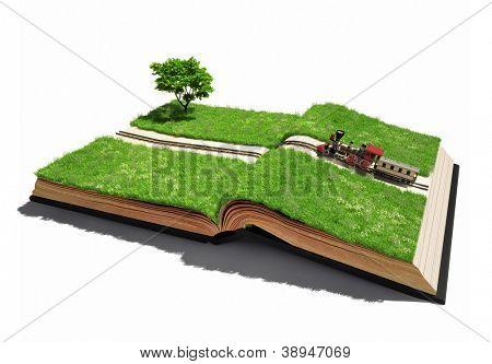 fahrenden Zug auf den Seiten offenes Buch (illustrierte Konzept)