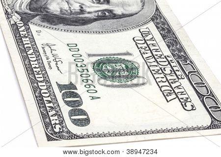 100 USD isolated on white background
