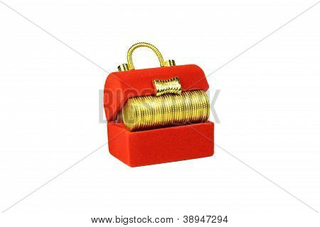 Red Chest With Yellow Coins Inside