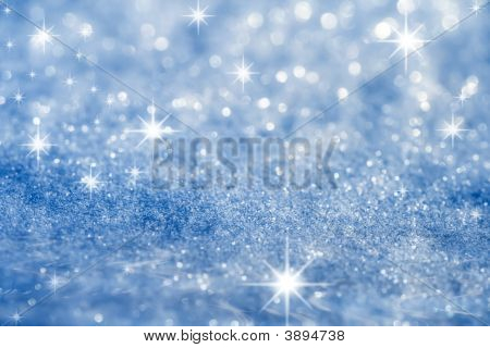 Estrella azul y fondo de destellos de brillo